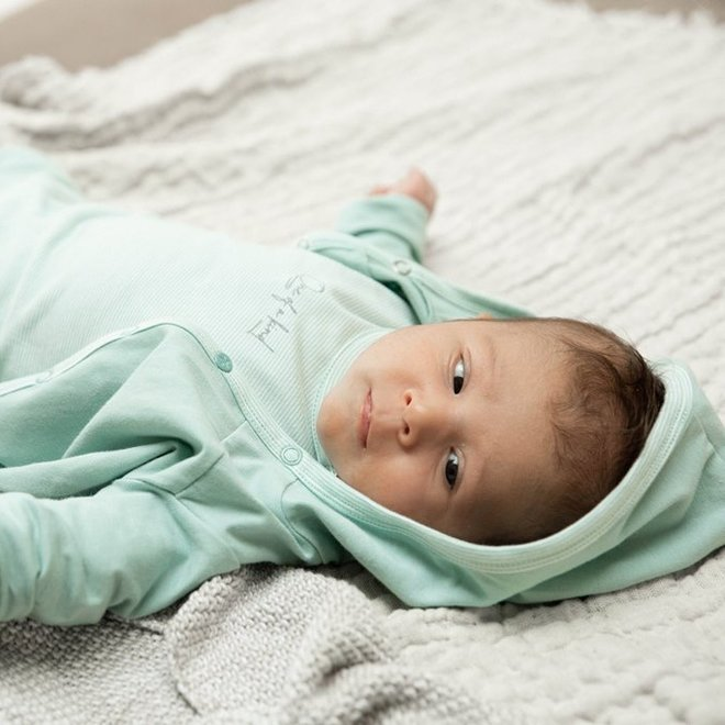 Dirkje unisex babysuit 3-piece mint green and ecru