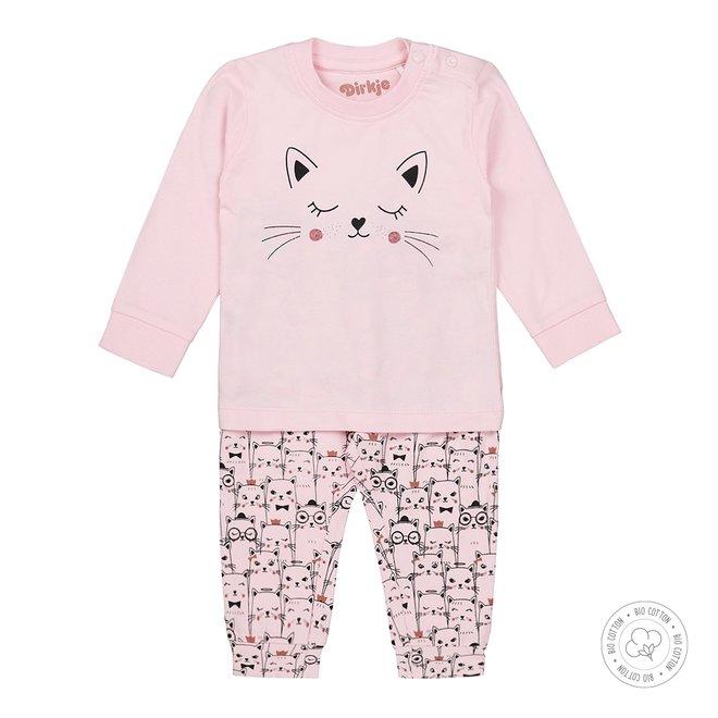 Dirkje Mädchen Schlafanzug Rosa mit Katzen