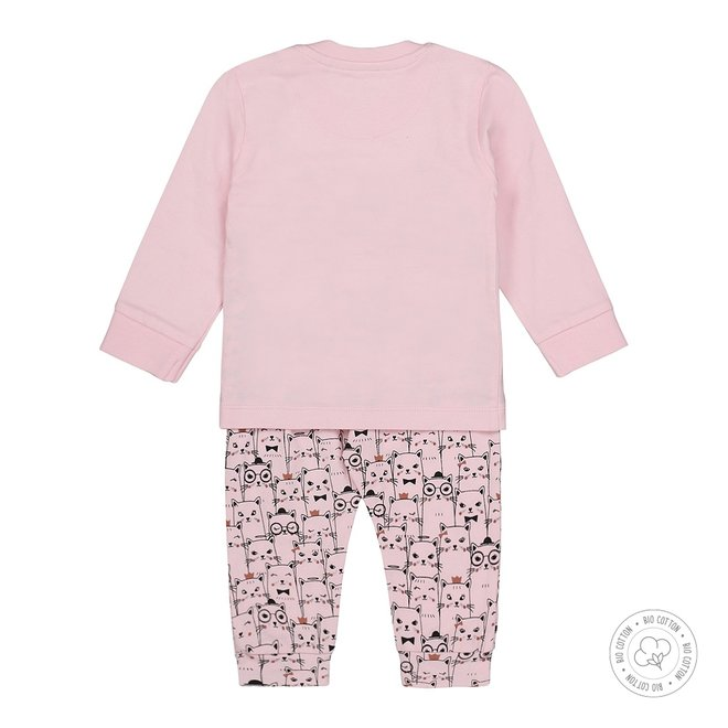 Dirkje meisjes pyjama roze met poesjes