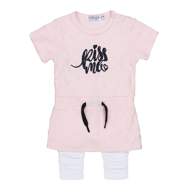 Dirkje girls baby dress 2 piece pink and white