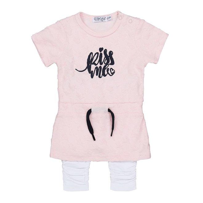 Dirkje Mädchen Baby Kleid 2 Stück rosa und weiß