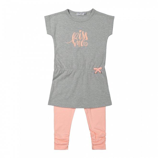 Dirkje Mädchen Kleid 2-teilig grau und rosa