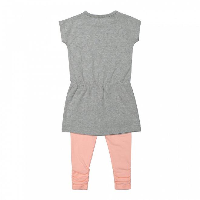 Dirkje meisjes jurkje 2-delig grijs en roze