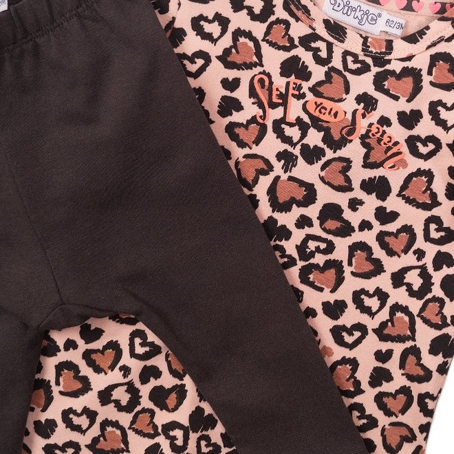 Dirkje girls baby 2-piece set with dress panther pink