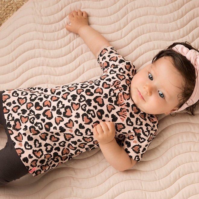 Dirkje meisjes baby 2-delig set met jurk panter roze