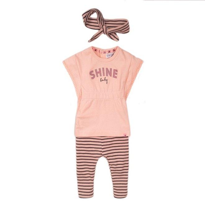Dirkje meisjes baby 2-delig set roze grijs met haarband
