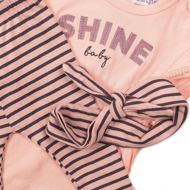 Dirkje girls baby 2-piece set pink grey with headband