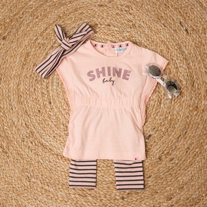 Dirkje Mädchen Baby 2-teiliges Set rosa grau mit Stirnband