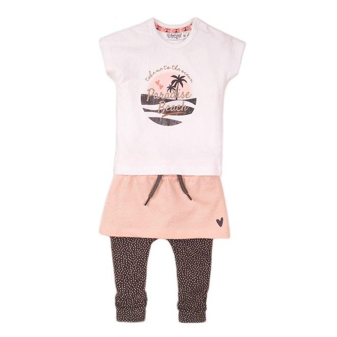 Dirkje girls baby 3-piece set with skirt white pink