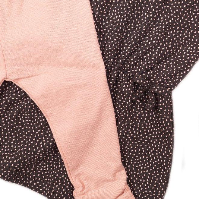 Dirkje meisjes baby 2-delig set met jurk donker grijs roze