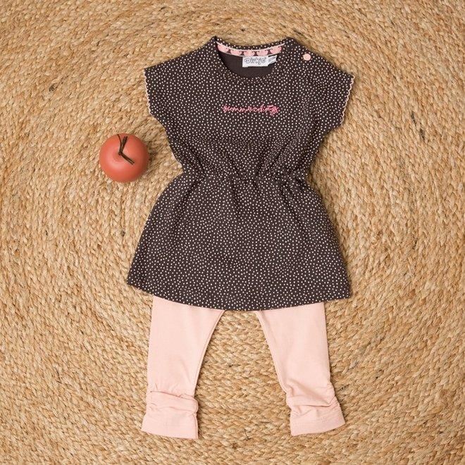 Dirkje girls baby 2-piece set with dress dark grey pink