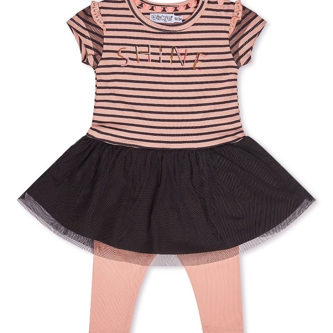 Dirkje Mädchen Baby 2 Stück Set mit Kleid rosa dunkelgrau