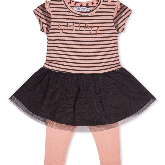 Dirkje meisjes baby 2-delig set met jurk roze donker grijs