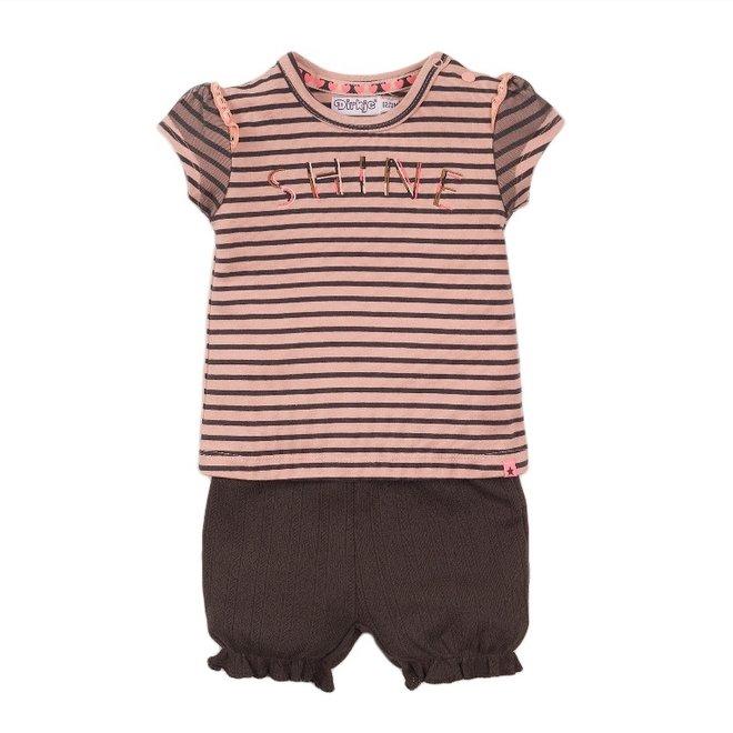 Dirkje Mädchen Baby 2-teiliges Set mit Shorts rosa grau gestreift
