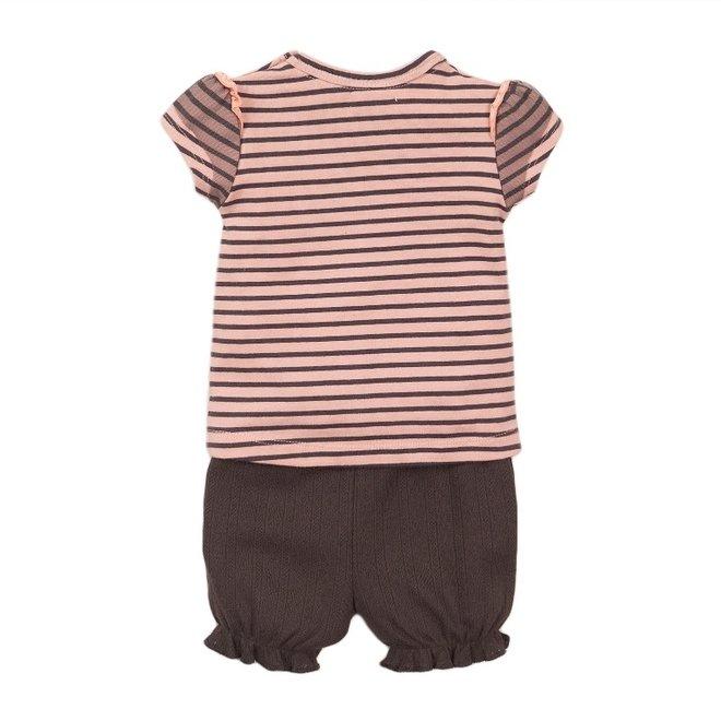 Dirkje meisjes baby 2-delig set met short roze grijs streep