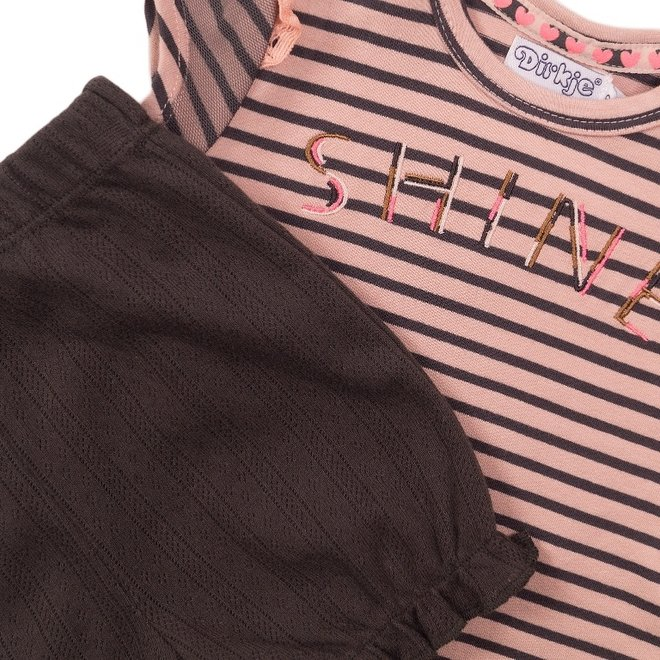 Dirkje girls baby 2-piece set with shorts pink grey stripe
