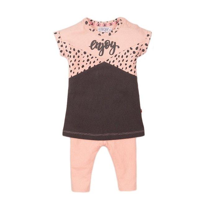 Dirkje Mädchen Baby 2-teiliges Set mit Kleid rosa grau genießen