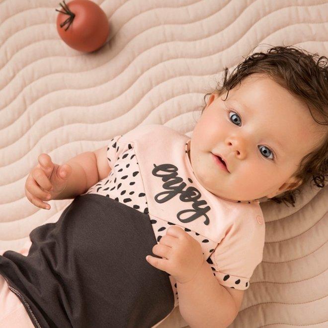 Dirkje girls baby 2-piece set with dress pink grey enjoy
