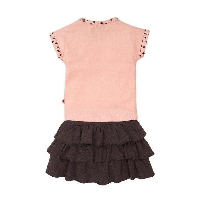 Dirkje girls baby 2-piece set with skirt pink grey enjoy