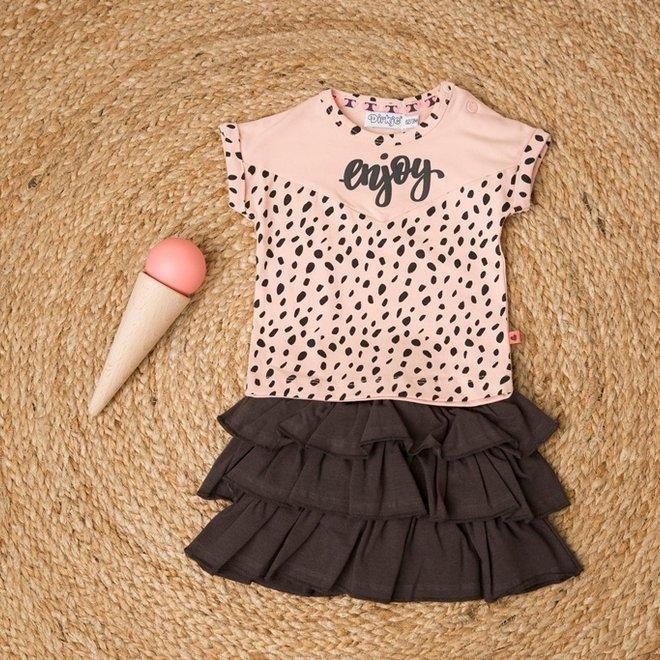 Dirkje Mädchen Baby 2-teiliges Set mit Rock rosa grau genießen