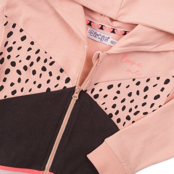 Dirkje girls cardigan pink dark grey