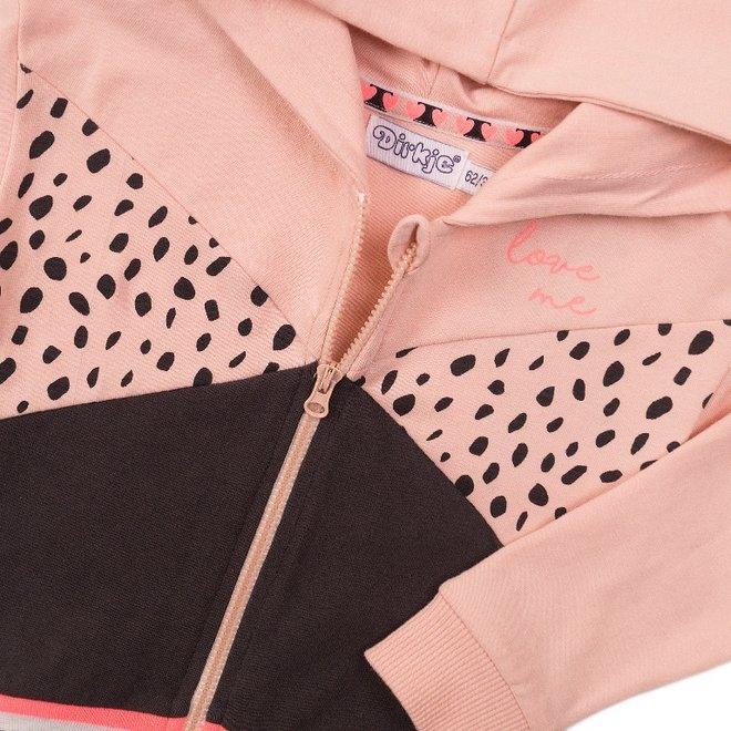 Dirkje meisjes vestje roze donker grijs