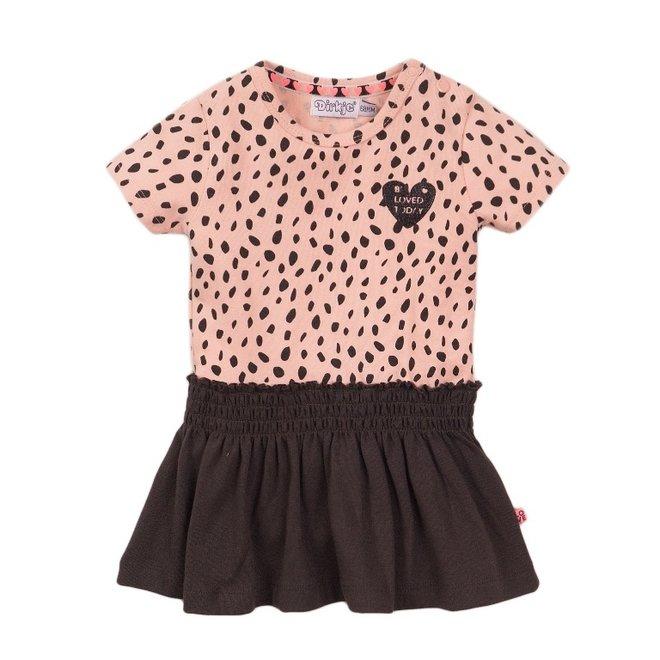 Dirkje girls dress pink dark grey