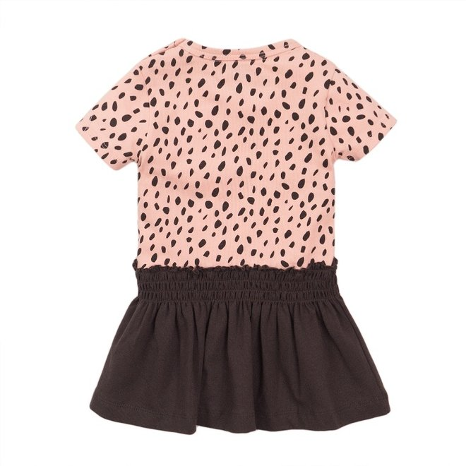 Dirkje meisjes jurk roze donker grijs