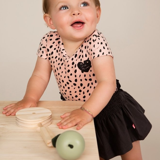 Dirkje Mädchen Kleid rosa dunkelgrau