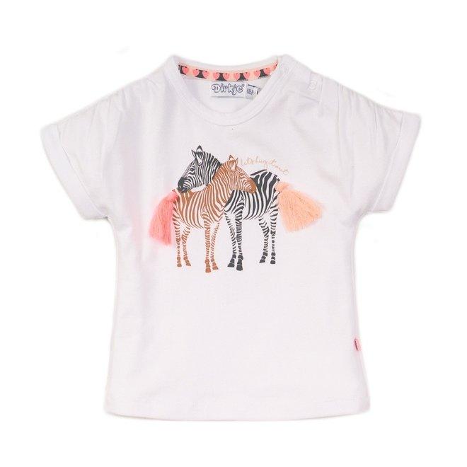 Dirkje meisjes T-shirt wit zebra