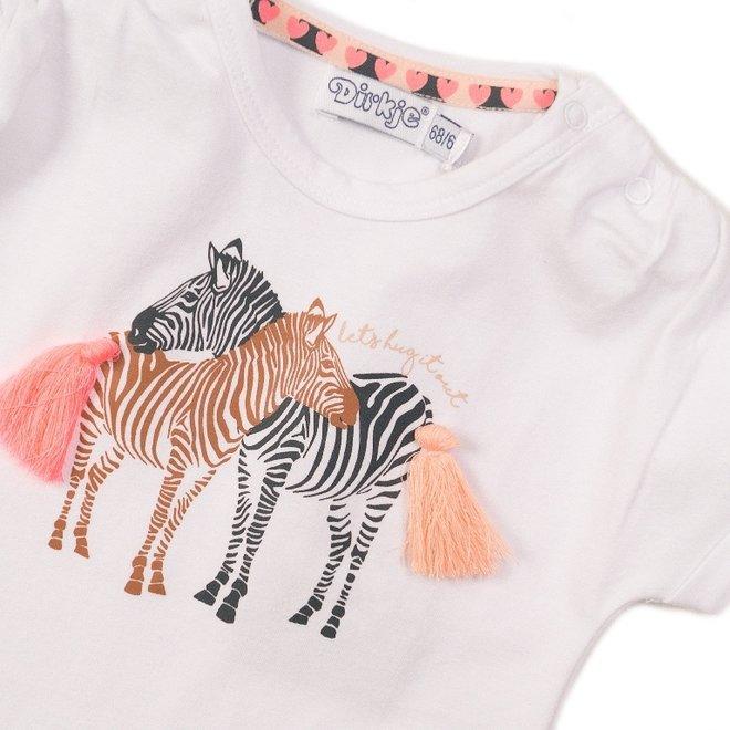 Dirkje Mädchen T-shirt weiß Zebra