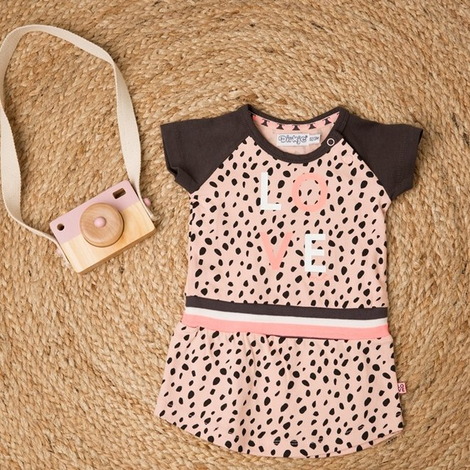 Dirkje girls dress pink dot