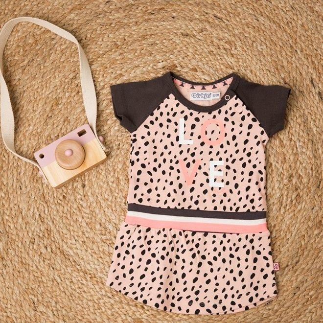 Dirkje meisjes jurk roze stip