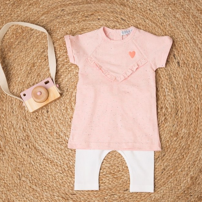 Dirkje girls baby 2-piece set with dress pink melee