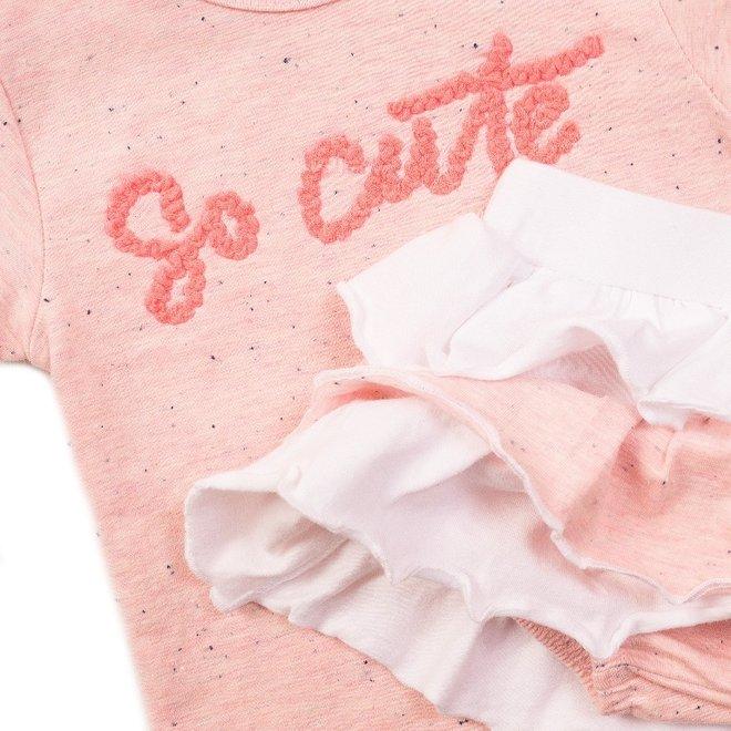 Dirkje meisjes baby 2-delig set met rok roze wit