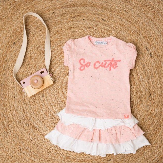 Dirkje girls baby 2-piece set with skirt pink white