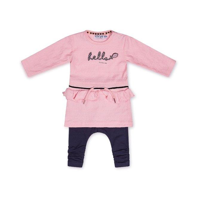 Dirkje girls baby 2-piece set with dress pink