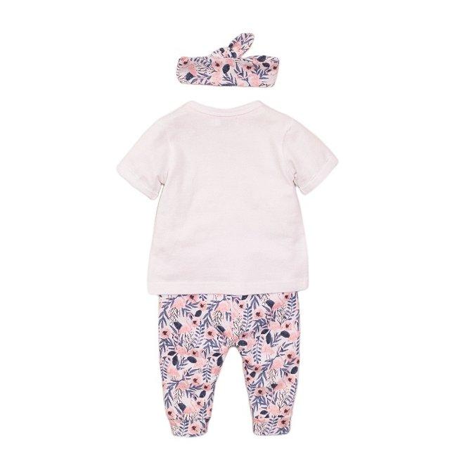 Dirkje girls baby 2-piece set white flamingo with headband