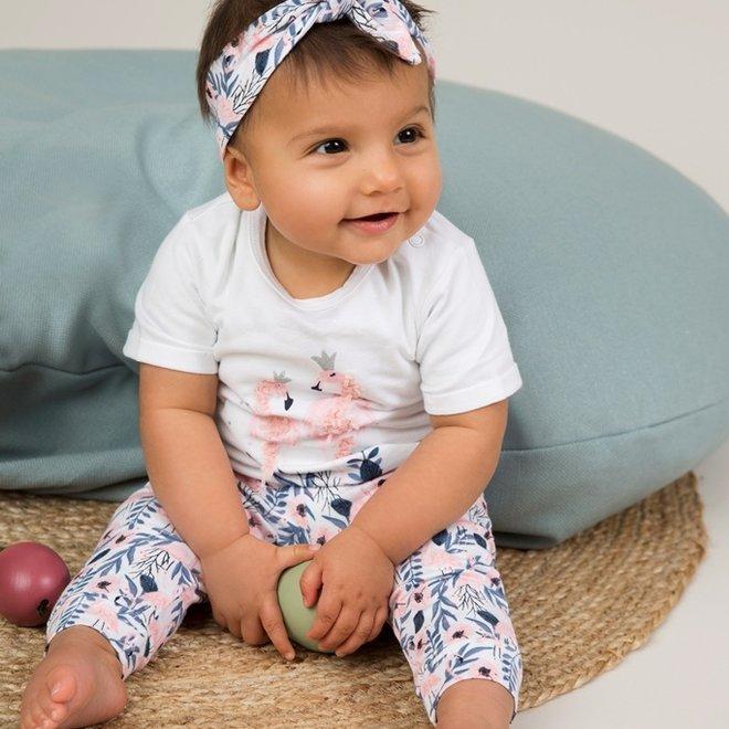 Dirkje meisjes baby 2-delig set wit flamingo met haarband