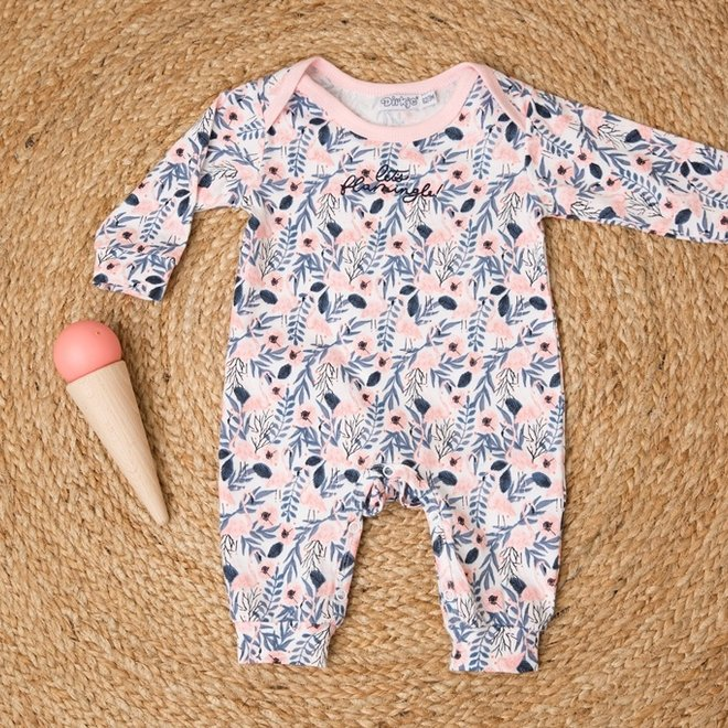 Dirkje girls baby outfit white flamingo