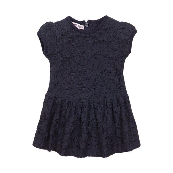 Dirkje meisjes jurk blauw kant