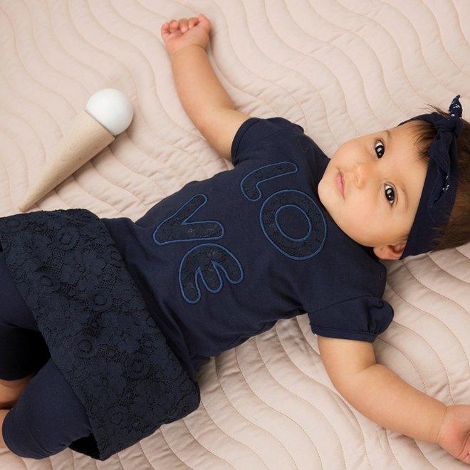 Dirkje meisjes baby 2-delige set met rok blauw