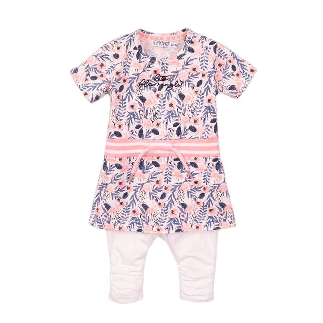 Dirkje girls baby 2-piece set with dress flamingo