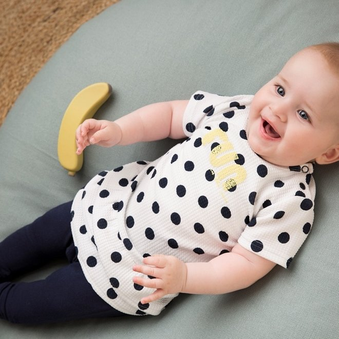 Dirkje Mädchen Baby 2-teiliges Set mit Kleid Punkte