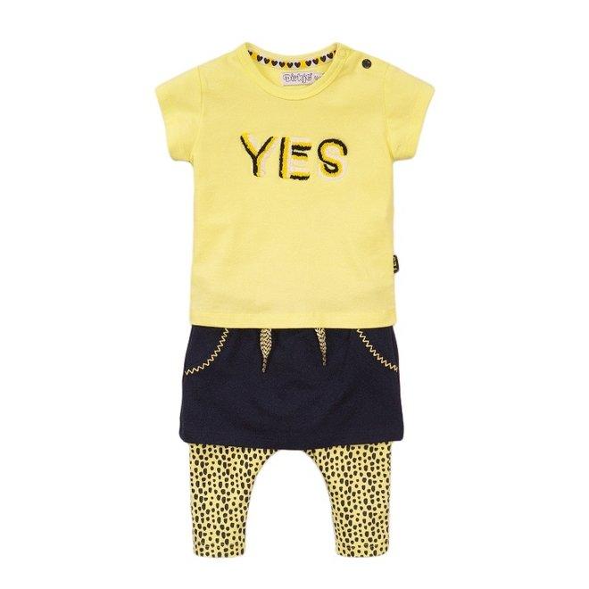 Dirkje Mädchen Baby 3-teiliges Set mit Rock gelb blau