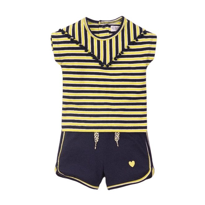 Dirkje girls baby 2-piece set with shorts yellow blue