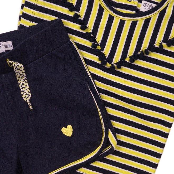 Dirkje meisjes baby 2-delig set met short geel blauw