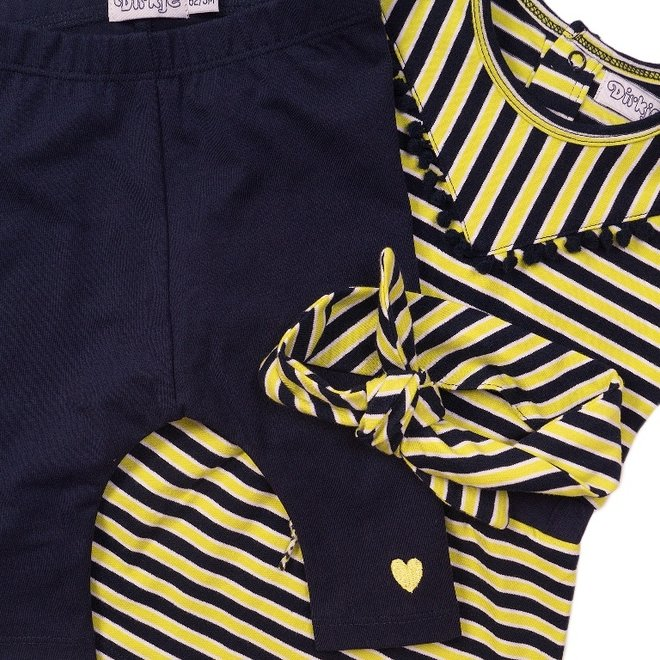 Dirkje Mädchen Baby 2-teiliges Set Kleid gelb blau und Stirnband