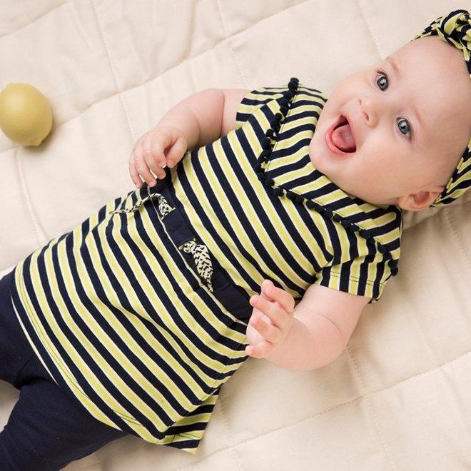 Dirkje meisjes baby 2-delige set jurk geel blauw en haarband