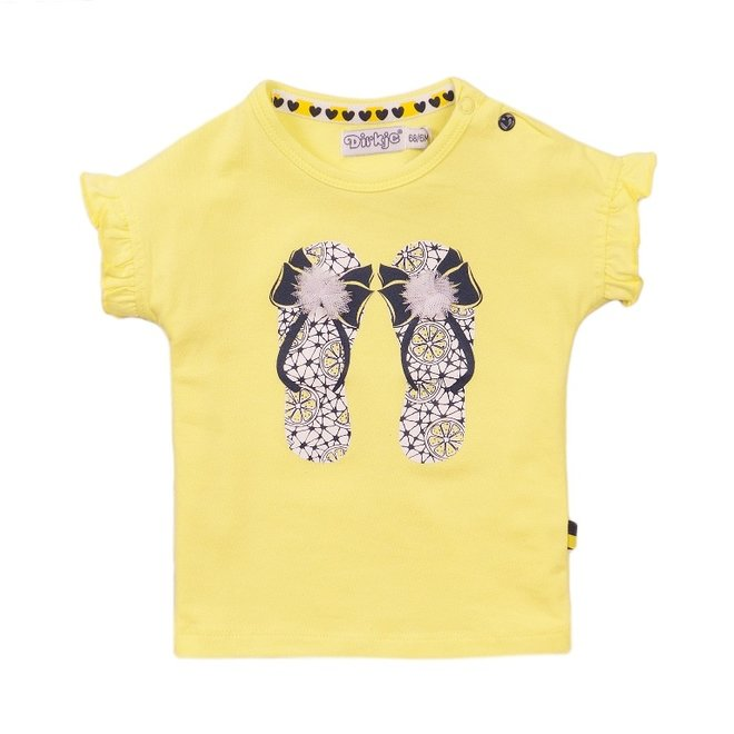 Dirkje Mädchen T-shirt gelb Hausschuhe